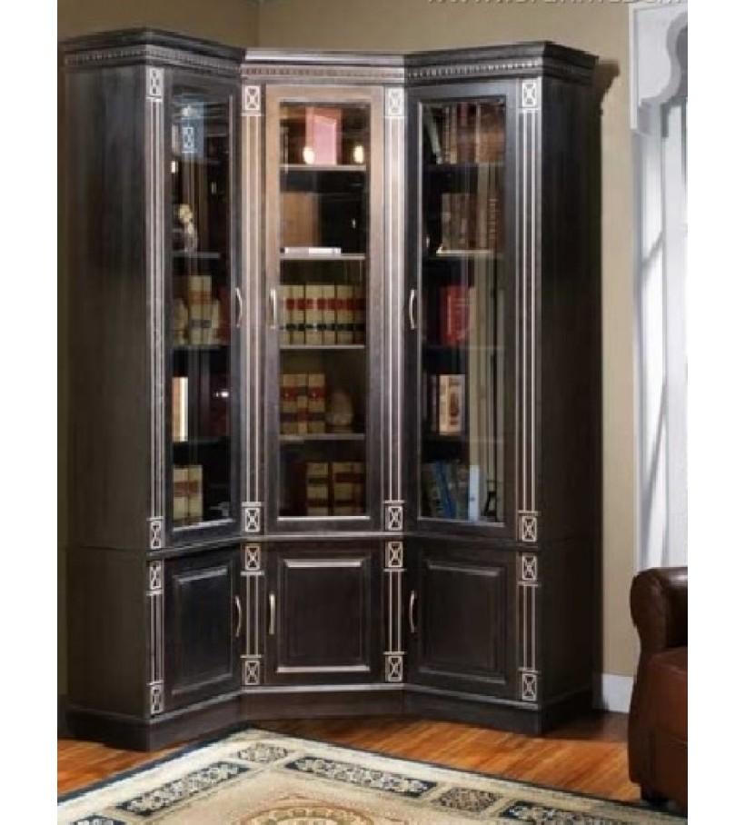 Библиотека угловая 1 Верди Люкс черный патина серебро