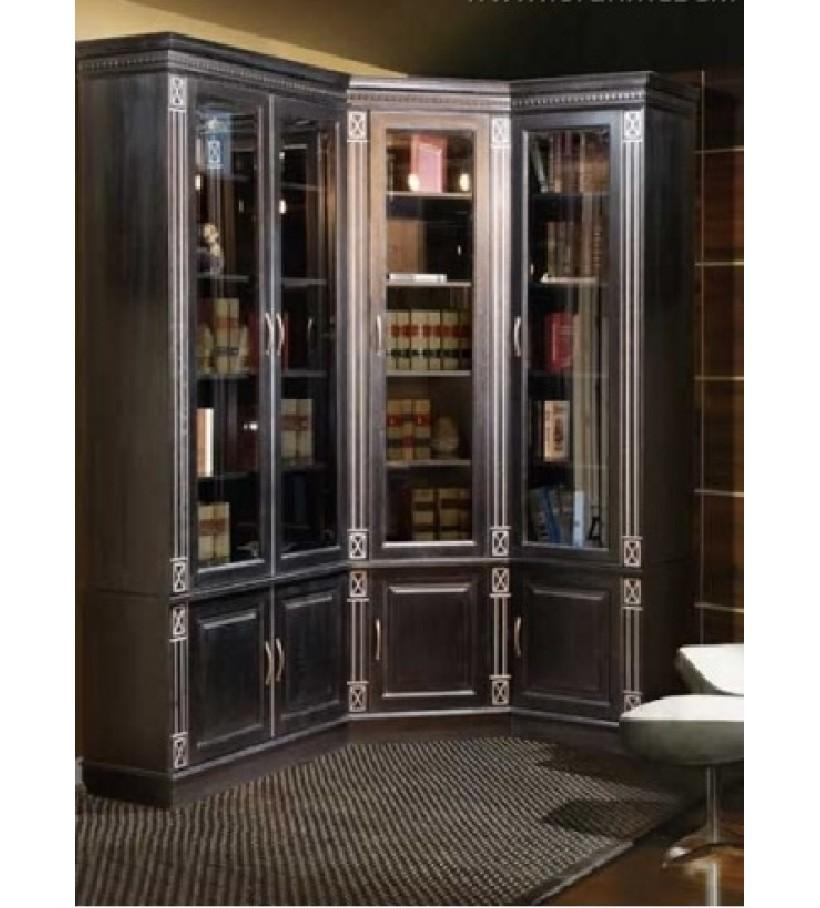 Библиотека угловая 2 левая Верди Люкс черный патина серебро
