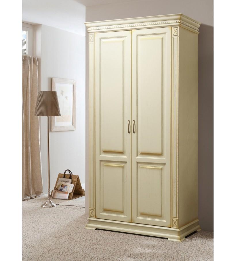 Шкаф 2 Верди Люкс слоновая кость золото