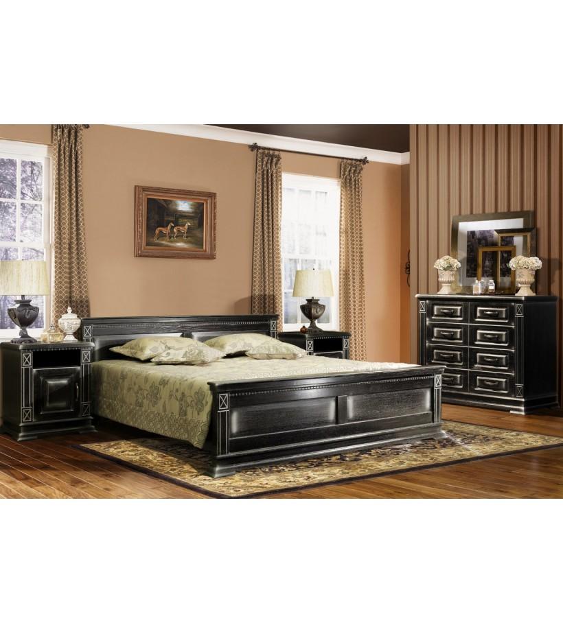 Комплект спальни 1 Верди Люкс черный патина серебро
